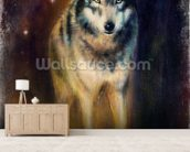 Wolf in the Night wall mural living room preview