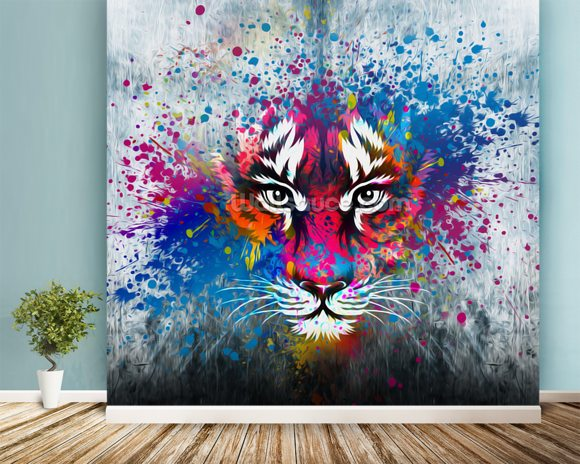 Tiger Art mural wallpaper room setting