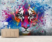 Tiger Art mural wallpaper living room preview