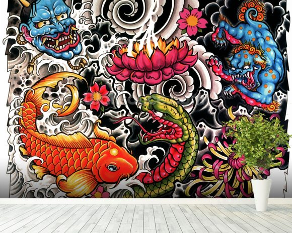 Tattoo wallpaper wall mural wallsauce canada for Back mural tattoo designs