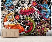 Tattoo mural wallpaper living room preview