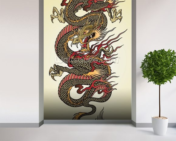 Asian Dragon Tattoo wall mural room setting