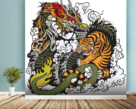 Tattoo dragon and tiger wallpaper wall mural wallsauce usa for Back mural tattoo designs