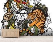 Tattoo - Dragon and Tiger wallpaper mural living room preview