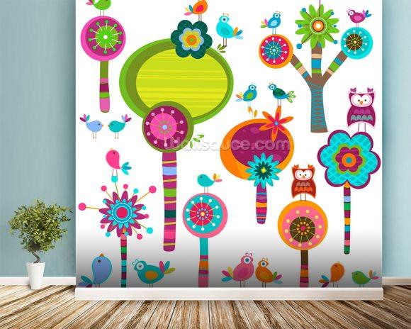 Cartoon flowers wallpaper wall mural wallsauce europe for Cartoon mural wallpaper