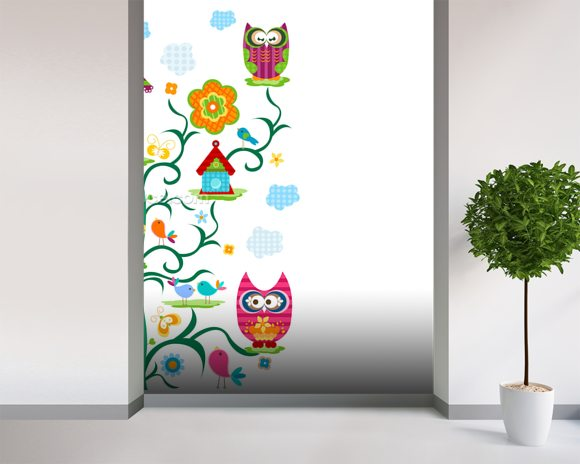 Owls wall mural room setting
