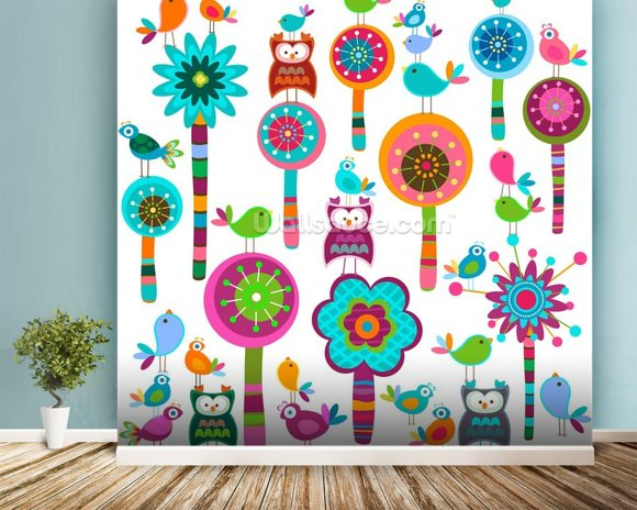 Colourful Flowers wallpaper mural room setting