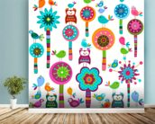 Colourful Flowers wallpaper mural in-room view