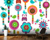 Colourful Flowers wallpaper mural kitchen preview