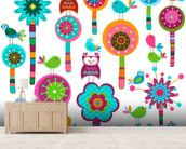Colourful Flowers wallpaper mural living room preview