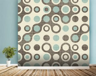 Blue Brown Retro Pattern wallpaper mural