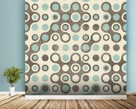 Blue Brown Retro Pattern wallpaper mural room setting