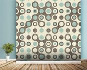 Blue Brown Retro Pattern wallpaper mural in-room view