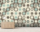 Blue Brown Retro Pattern wallpaper mural living room preview