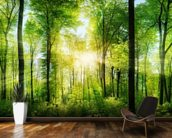 Forest Panoramic with Sunbeams wallpaper mural kitchen preview