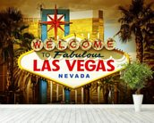 Las Vegas Welcome wallpaper mural in-room view