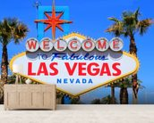 Welcome to Las Vegas mural wallpaper living room preview