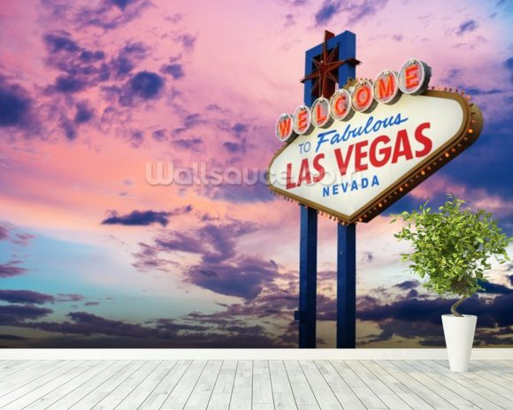 Welcome to Las Vegas Sign at Sunset wall mural room setting