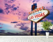 Welcome to Las Vegas Sign at Sunset wall mural in-room view