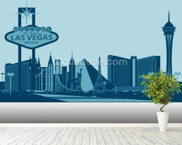 Las Vegas Skyline Abstract wallpaper mural room setting