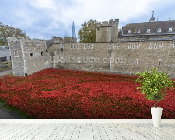 Tower of London Poppies mural wallpaper room setting