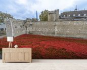 Tower of London Poppies mural wallpaper living room preview