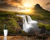 Icelandic Waterfall Sunset wall mural kitchen preview