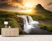 Icelandic Waterfall Sunset wall mural living room preview
