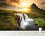 Icelandic Waterfall Sunset wall mural in-room view