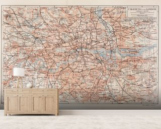 Vintage Map of London wallpaper mural