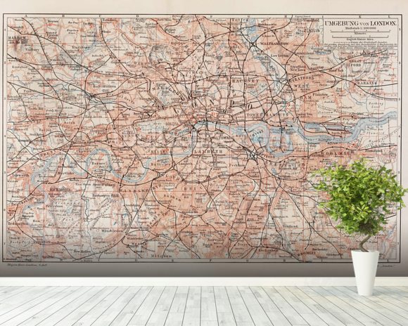 Vintage Map of London wallpaper mural room setting