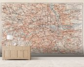 Vintage Map of London wallpaper mural living room preview