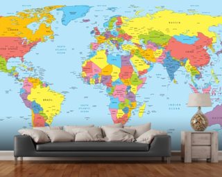 World map wallpaper wall murals wallsauce new zealand colourful world map gumiabroncs