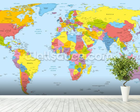 Colourful world map wallpaper wall mural wallsauce new zealand colourful world map mural wallpaper room setting gumiabroncs Image collections
