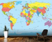 Colourful World Map Mural Wallpaper Kitchen Preview