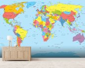 Colourful World Map mural wallpaper living room preview