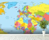 Colourful World Map mural wallpaper in-room view