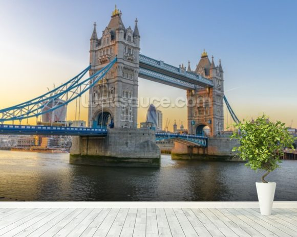 London Tower Bridge at Sunset mural wallpaper room setting