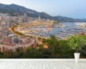 Monaco Sunset Ariel View wallpaper mural in-room view