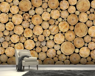 Stacked Log Pile wallpaper mural