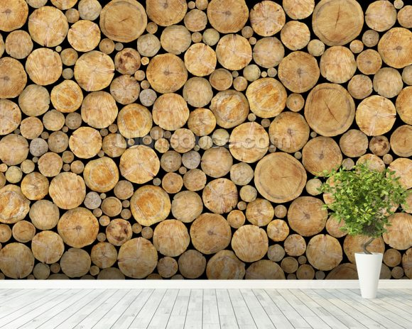 Stacked Log Pile wallpaper mural room setting