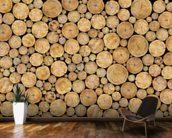 Stacked Log Pile wallpaper mural kitchen preview