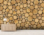 Stacked Log Pile wallpaper mural living room preview