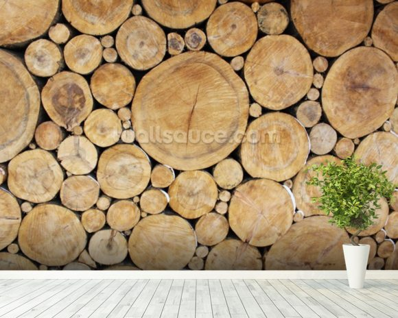 Stacked Logs mural wallpaper room setting