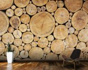 Stacked Logs mural wallpaper kitchen preview