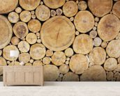 Stacked Logs mural wallpaper living room preview