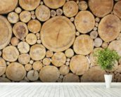Stacked Logs mural wallpaper in-room view