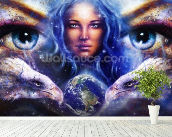 Womans Eyes wall mural room setting