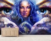 Womans Eyes wall mural living room preview