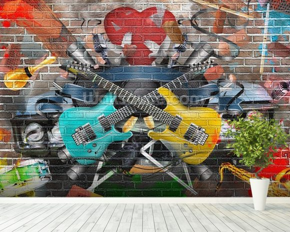 Graffiti - Guitar wallpaper mural room setting